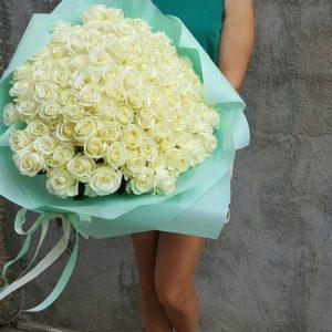 101 Белых роз букет