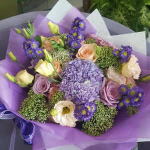 Bouquet in blue and purple colors