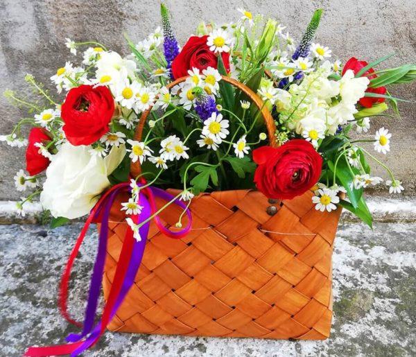Pretty basket with garden flowers