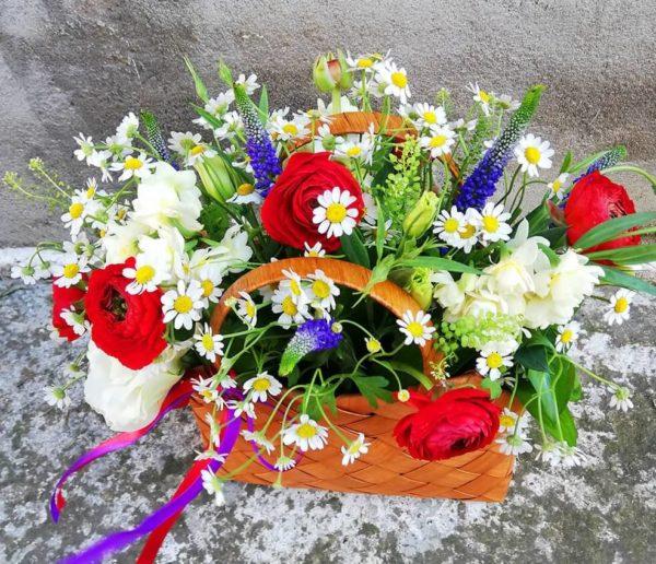 Pretty basket with garden flowers limassol
