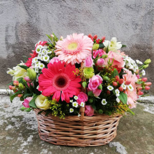 Lush basket with gerberas