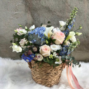 Basket with blue hydrangea