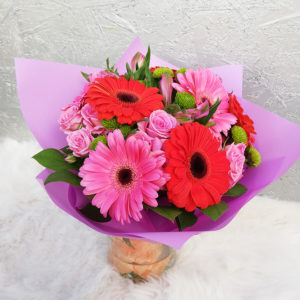 Bouquet with bright gerberas