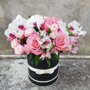 Elegant box of roses and orchids